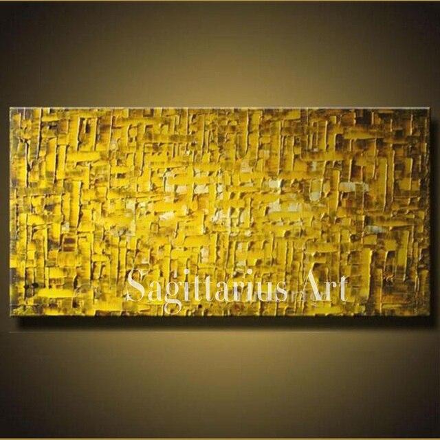 Hand Painted High Quality Golden Metal Wall Art Modern Palette Knife ...