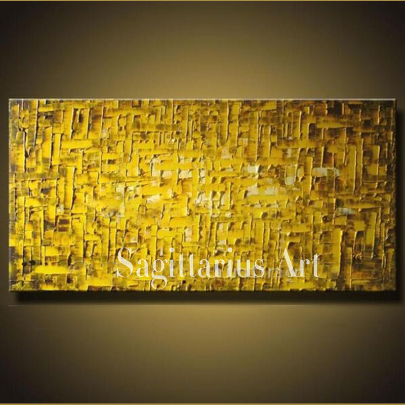 Hand Painted High Quality Golden Metal Wall Art Modern Palette font b Knife b font Painting