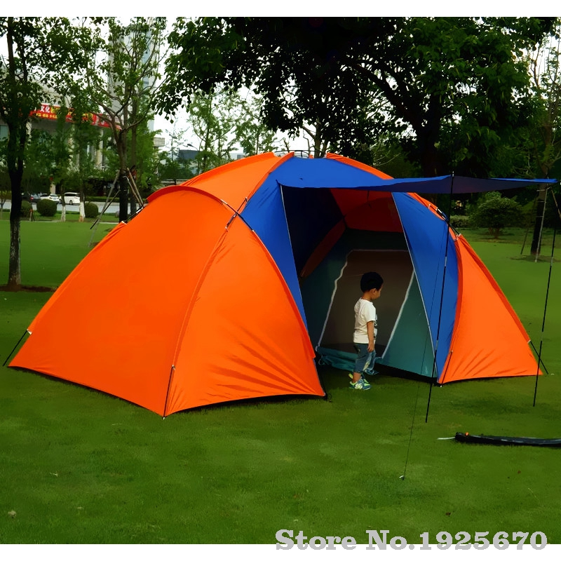 5-6persons luxury 2room 1hall double layer large family outdoor camping tent Family Party Travelling tent high quality outdoor 2 person camping tent double layer aluminum rod ultralight tent with snow skirt oneroad windsnow 2 plus