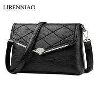 LIRENNIAO Genuine Leather Women Messenger Bags Women Bags Handbags Famous Brands Big Shoulder Bags Real Leather