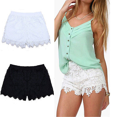Woman Summer Lace Floral Shorts Summer New Ladies Mini Mesh Lace Crochet Flower Tiered Women Short Pants Summer Clothing(China)