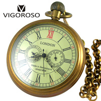VIGOROSO Collectible Antique Old Copper Mechanical Pocket Watch FOB Chain Hand Winding Roman Numerals 12 24