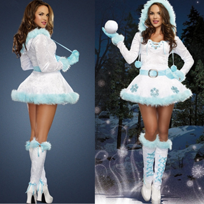 Girl Adult Christmas Dresses New Year Xmas Female Party Dress Deluxe Women Dreamy Snow Maiden Xmas Cosplay Costumes