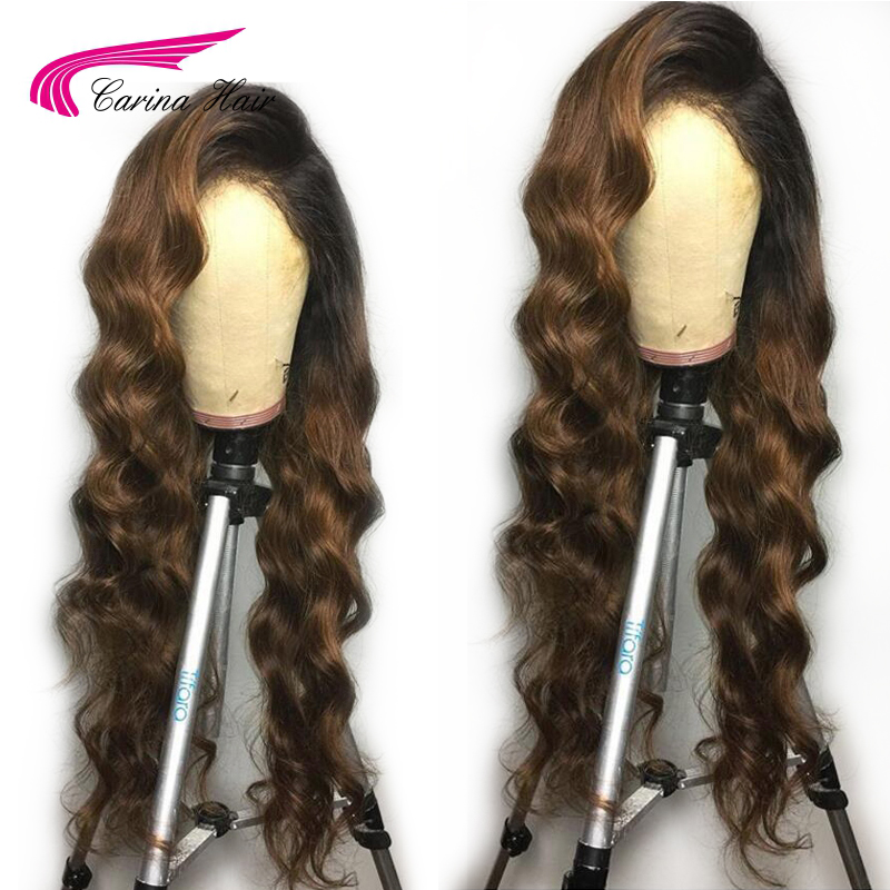 Carina Brazilian Deep Wave Lace Front Human Hair Wigs with Baby Hair Ombre Color Remy Hair Glueless Wigs Pre-Plucked Hairline ...