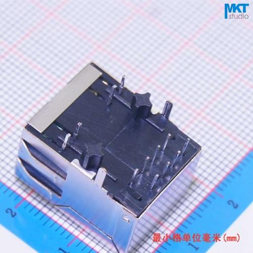 50Pcs RJ45 Female Ethernet Network LAN PCB Socket Connector Jack With Transformer Filter LED Indicator