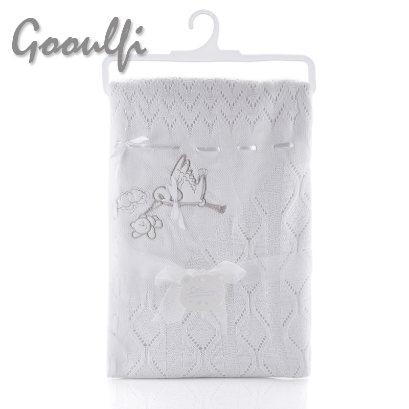 ФОТО Baby Knit Blanket Unisex Crocheted Baby Blankets In White Width Tassel Border Embroidery Infant Baby Bedding Wrap