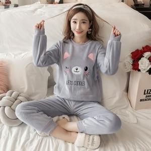 Image 2 - Womens Pajamas Autumn and Winter Pajamas set Women Long Sleeve Sleepwear Flannel Warm Lovely Top + Pants Pajamas Female Pyjama
