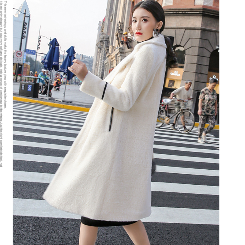Veste De Yp2026 Faux Longue Femelle Laine Fourrure Manteau camel Femmes Outwear Col D'hiver Vison Blanc Mélanges Épaisse 6q8wF6x1