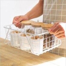 Portable Wrought Iron Storage Basket Storage Rack Multifunctional Iron Mesh Basket Debris Basket Seasoning Storage Tool