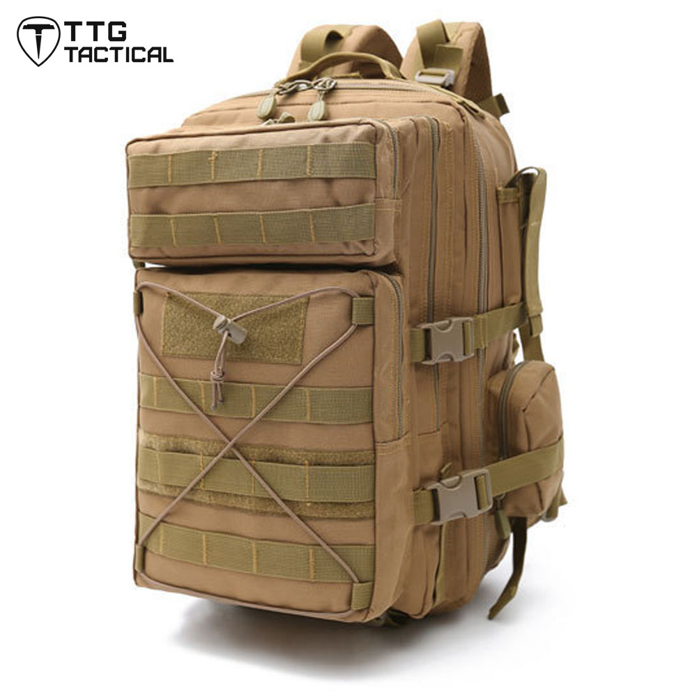 ФОТО Large Capacity MOLLE 3P Military Backpack Water Repellent Army Trekking Rucksack Shockproof X-LOCK Army Combat Daypack