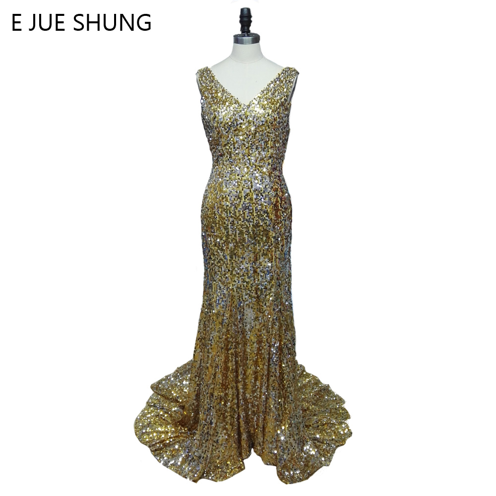 E JUE SHUNG Gold Sequin Mermaid Luxury   Evening     Dresses   Long 2018 Elegant Backless Long Prom   Dresses   Party   Dress   robe de soiree