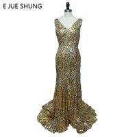 E JUE SHUNG Ouro Lantejoula Sereia Vestidos De Luxo À Noite Longa 2018 Elegante Backless Prom Vestidos Longos Vestido de Festa robe de sarau