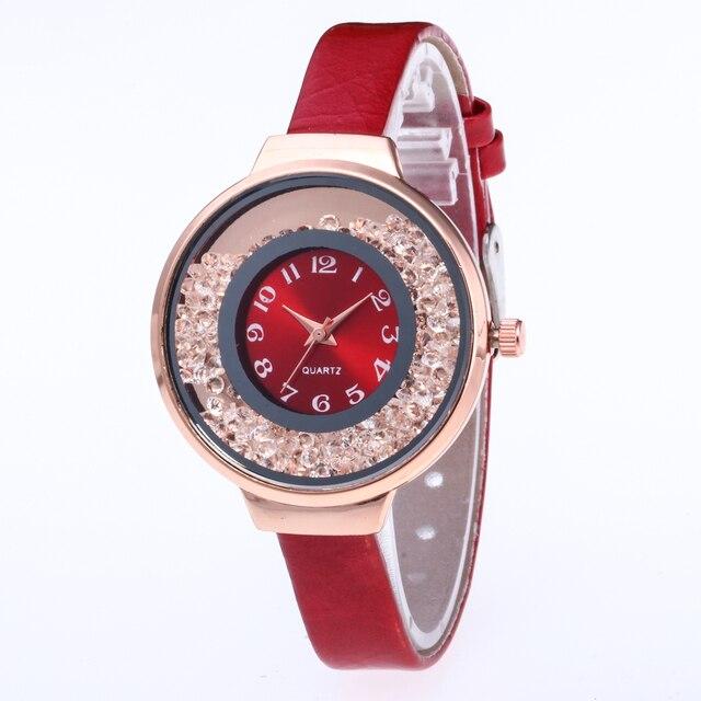 New Brand Leather Bracelet Strap Lady Rose Gold Bling Crystal Bezel Case Quartz