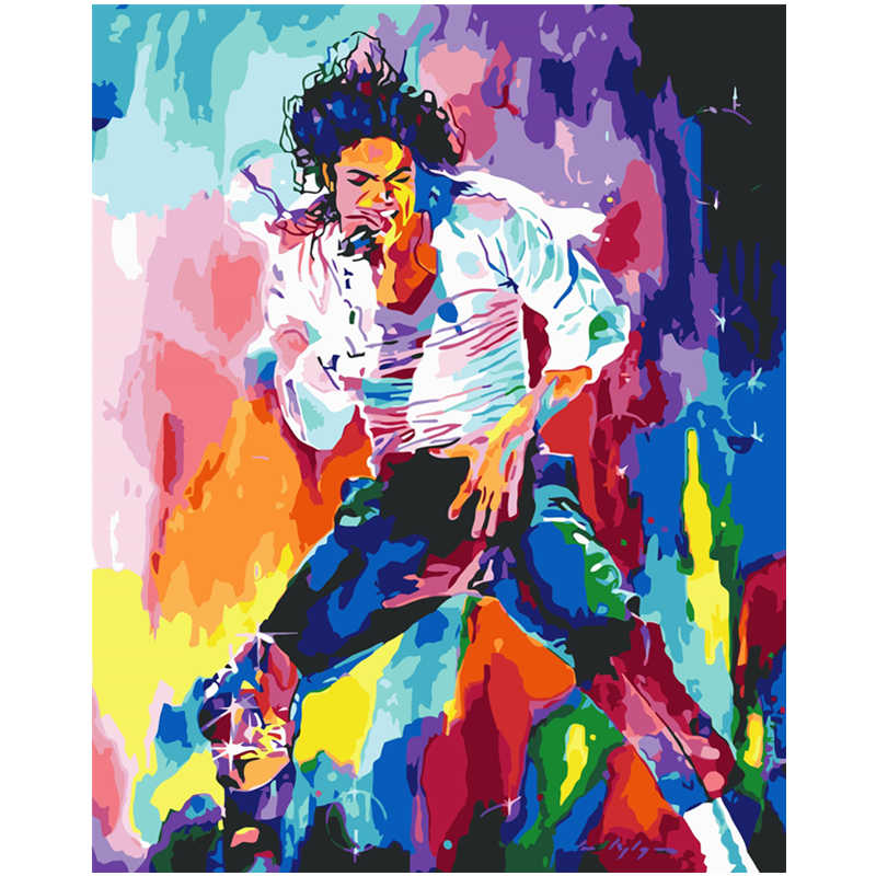 Multicolor Michael Jackson Hand Made Paint High Quality Canvas Beautiful Painting By Numbers Surprise Gift Great Accomplishment