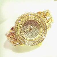 Vente chaude 2018 nouveau designer célèbre marque femmes strass montres diamant femmes robe montres pour dames en acier inoxydable bande