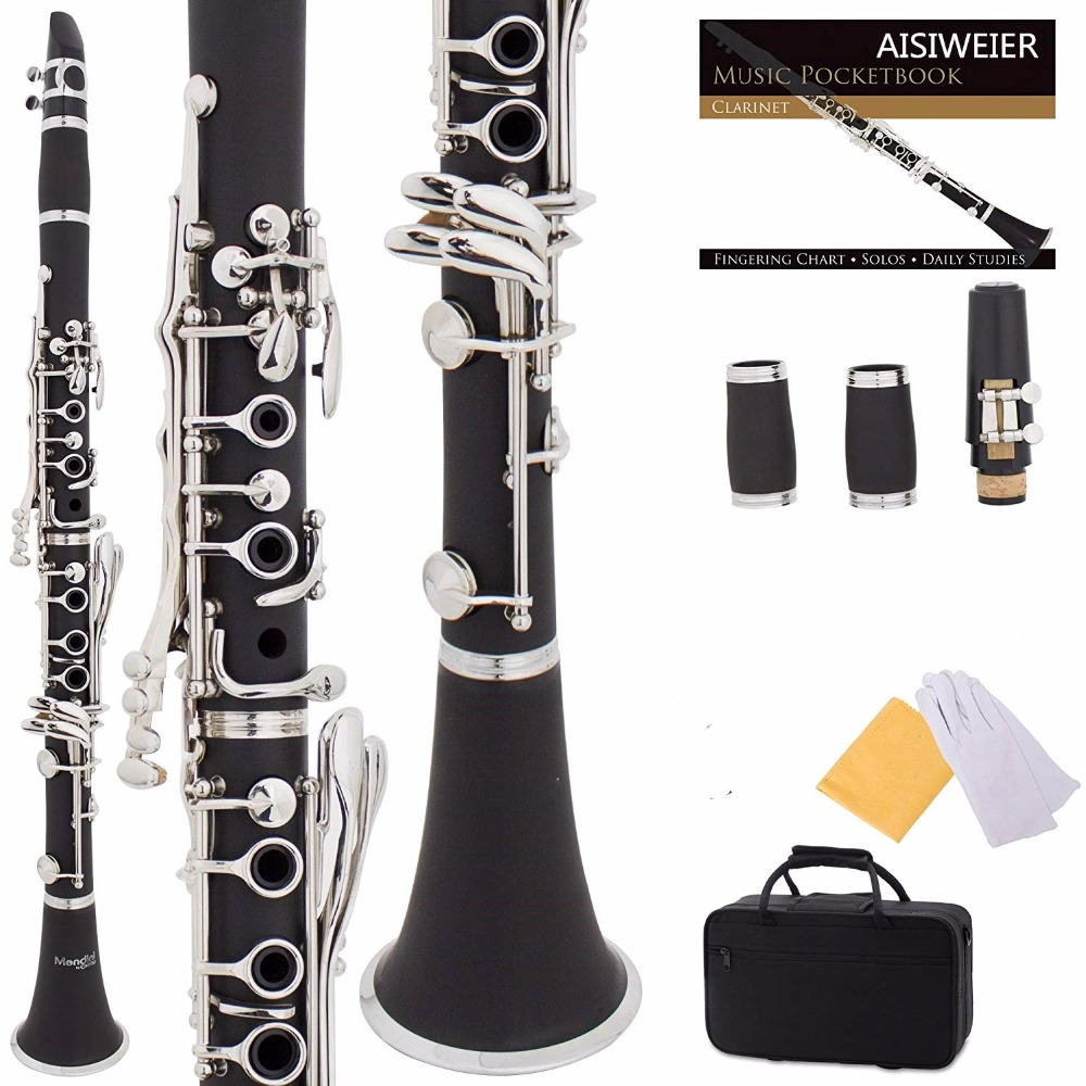 Sponsored]Mendini By Cecilio B Flat Clarinet With 2 Barrels, Case,  10 Reeds, Mouthpiece And Warranty-Black Ebonite
