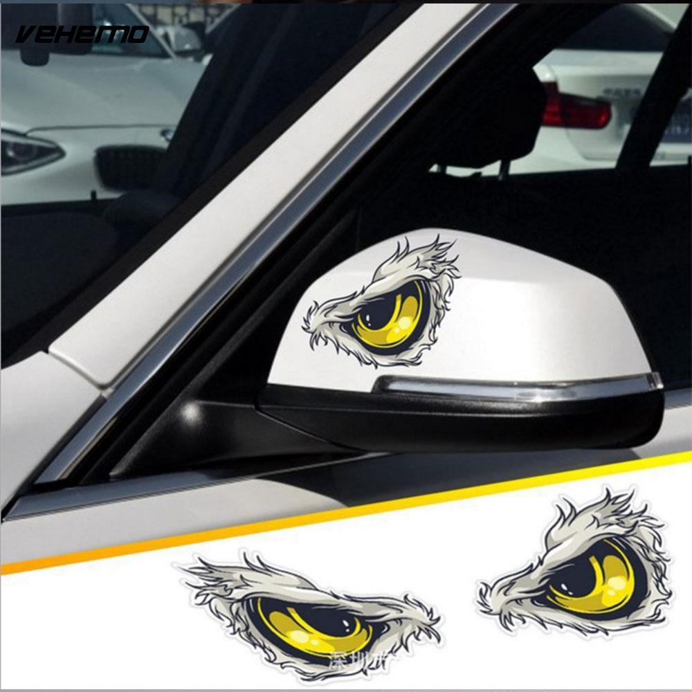 2Pcs 10x8cm 3D Stereo Reflective Cat Eyes Car Stickers Car