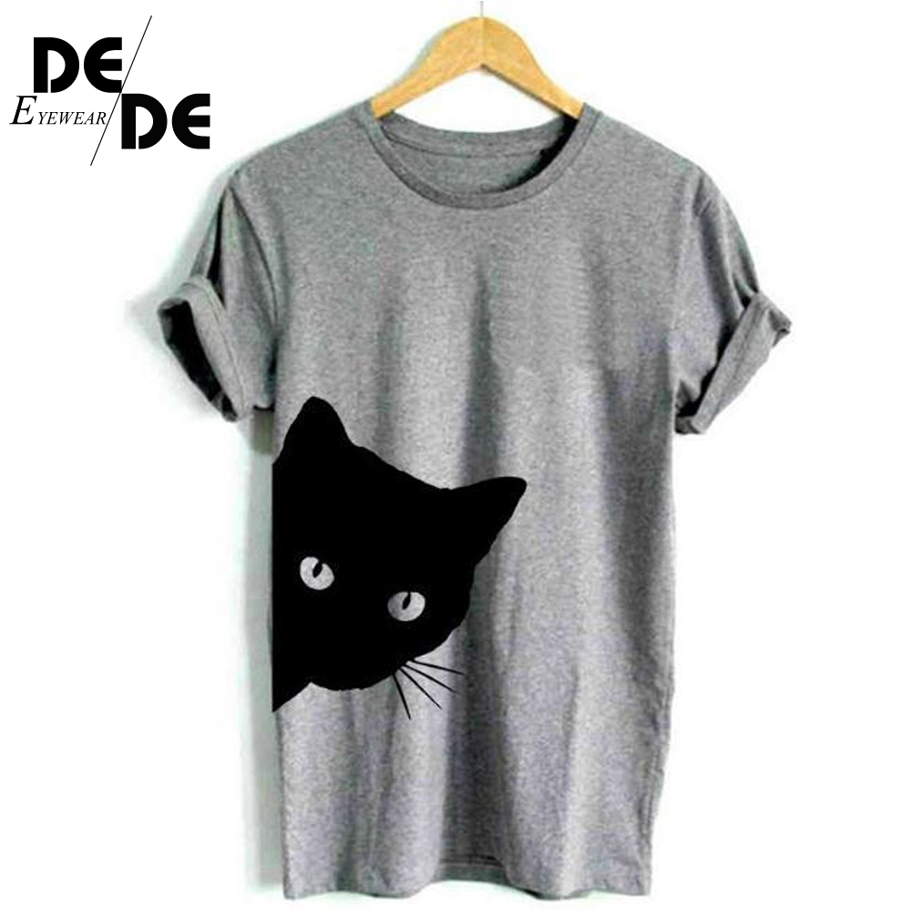Cat Looking Out Side Print Women Tshirt Cotton Casual Funny T Shirt For Lady Girl Top Tee Hipster Tumblr Drop Ship 2019 New