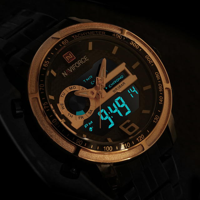 7d1573f71652 NAVIFORCE hombres Digital deportes relojes de moda de lujo marca reloj de  cuarzo impermeable militar reloj