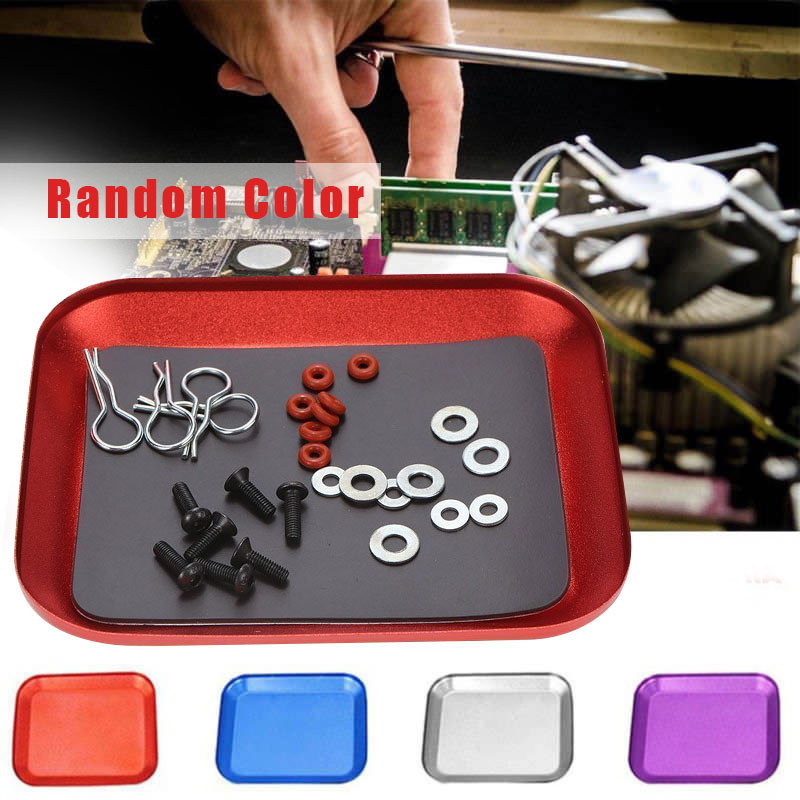 1pc Magnetic Tray Stainless Steel Square Screw Parts Bowl Tray Dish Suction Pad Absorb Dish Storage Tool Color Random