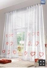 Liebe qualitäts weißen handgemachten herz muster loops stange vorhänge für das schlafzimmer, voile fenster vorhang dekoration endprodukt