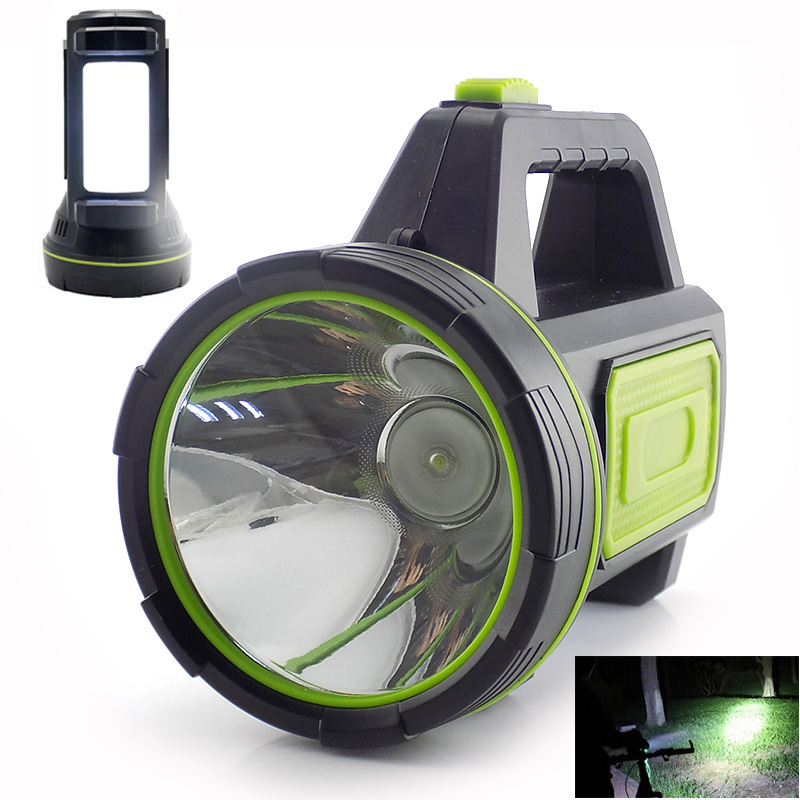 Powerful USB LED Flashlight Side Light Hand Long Range Torches Camping Lantern Rechargeable Battery Searching Night Lamp Fishing