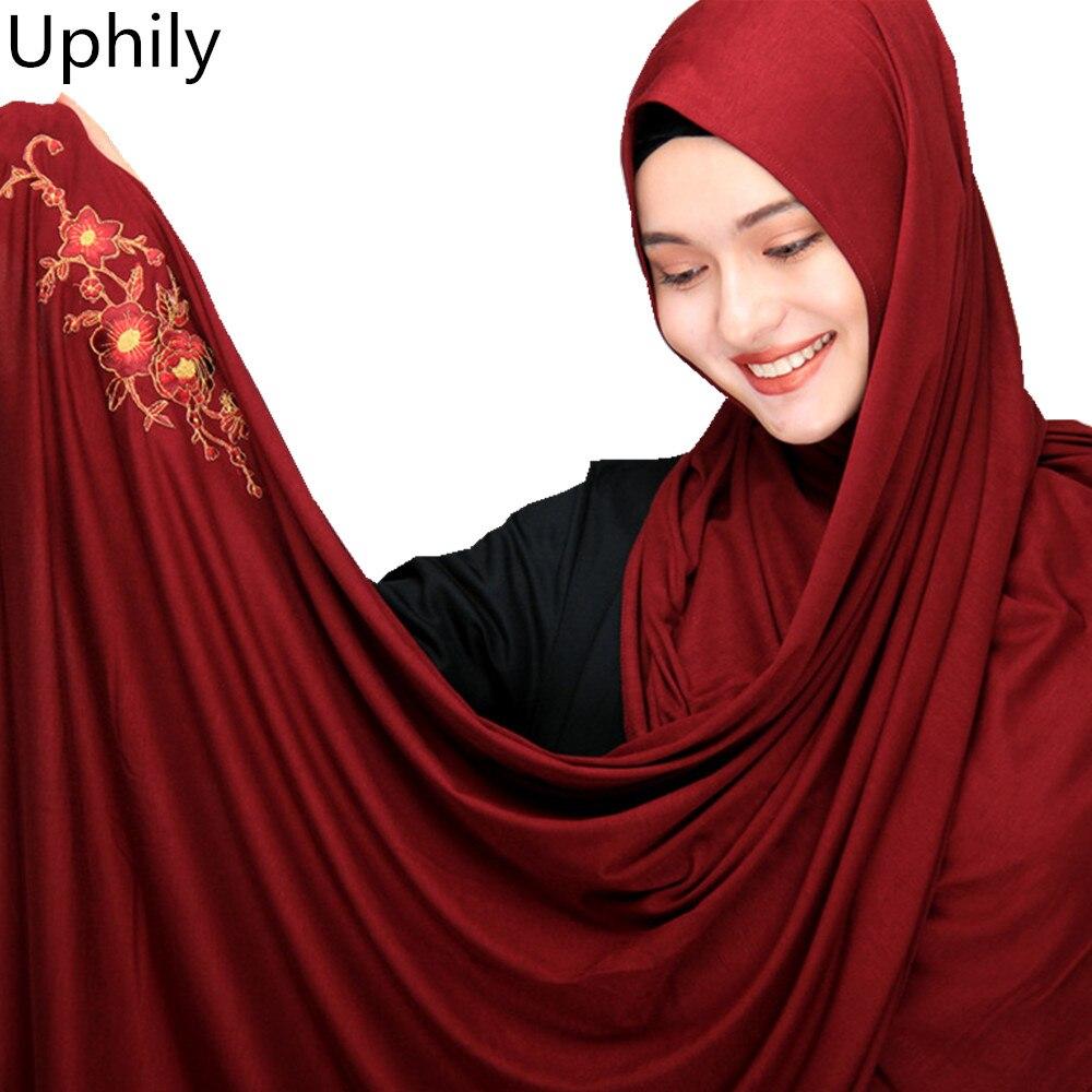 Plus size muslim hijabs spandex cotton jersey turban hijabs scarf cotton shawl soft embroidered muslim head covering muslim