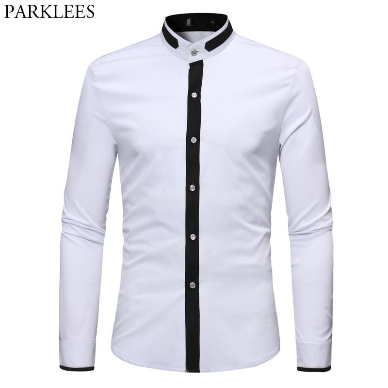 Mens Floral Paisley Print Shirts Long Sleeve Casual Mandarin Collar Shirts Tops