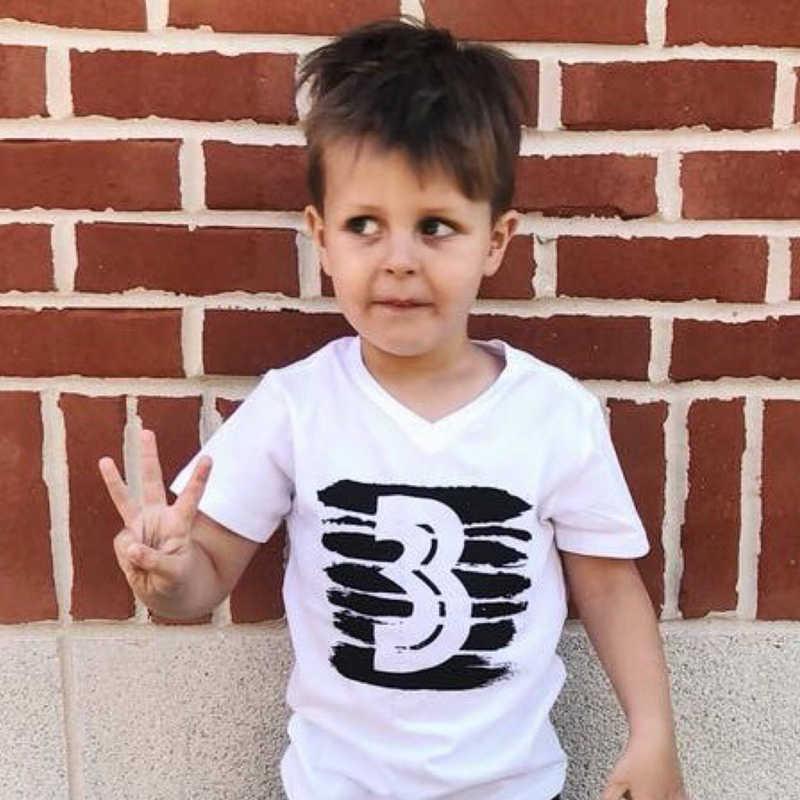 2018 Baby Boys T Shirt Children Letter Birthday 1 4 Printed Cotton Summer Shirts
