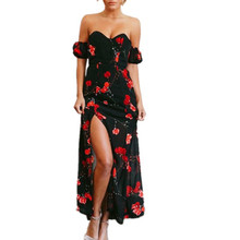 6d47c6833ec19 Buy black floral slit maxi dress and get free shipping on AliExpress.com