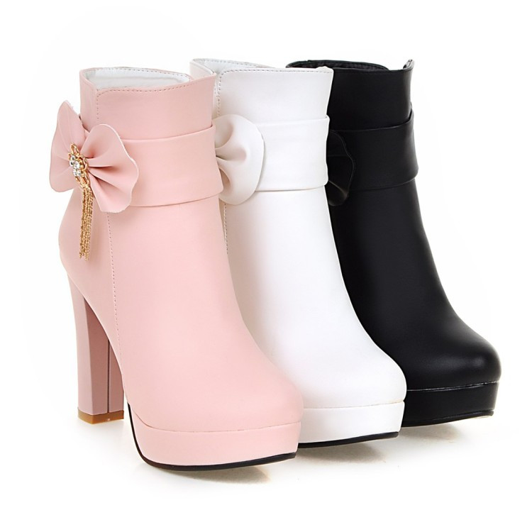 25_2016 Autumn Korean Womens Pink Dress Booties Shoes Princess Bow High Heels Black And White Platform Ankle Boots For Winter