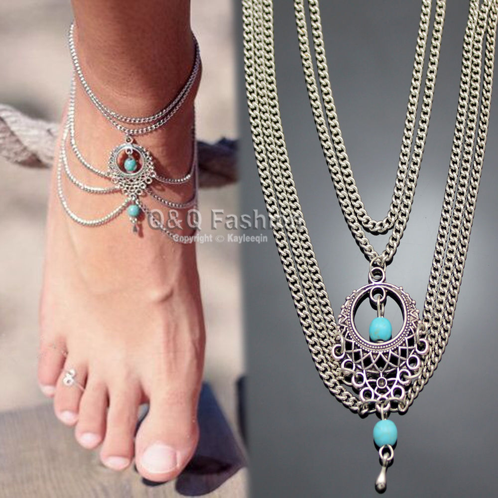 chain bead finger turquoise bracelet jewelry hand item anklet on from ankle in link jinse harness stone slave accessories bangle anklets