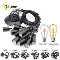 With 2M Long Cable Socket 110V 220V E27 Vintage Retro Edison Lamp Base Holder Pendant Bulb