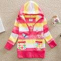 Nuevo 2016 de la muchacha activa hoodies que arropan la camiseta de rayas niño jersey 100% algodón baby girls manga larga camisa