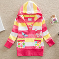 new 2016 active girl hoodies clothing child striped sweatshirt pullover 100% cotton baby girls long sleeve t shirt