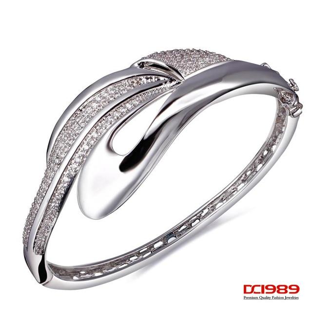 DC1989 Women's Premium Quality Paved Setting Cubic Zirconia Bangles Lead Free Rhodium &  Gold Plating Bridal Wedding Jewelry