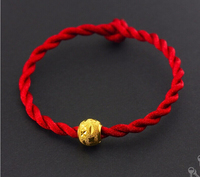 Hot sale 999 24k Yellow Gold Carved Ball Beads Weave Bracelet