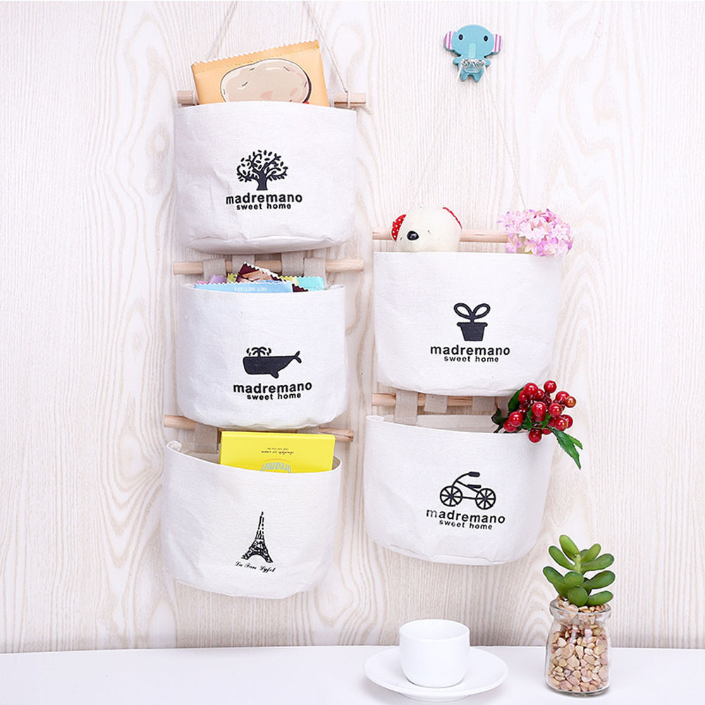 Pouch Storage-Bag Cosmetic-Toys Organize-Pockets Wall-Combination Hanging Cotton Cute