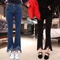 2017 Primavera Nueva Corea Pantalones Vaqueros de Cintura Alta Evasé Mujer Borlas Bordes de la Tobillo-longitud de los Pantalones de Estiramiento Delgados Pantalones Acampanados AXD1521