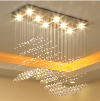 Bar Salon Pendant Light LED Modern Pendant Light Rectangle Wave Crystal Pendant Light Lighting Free Shipping