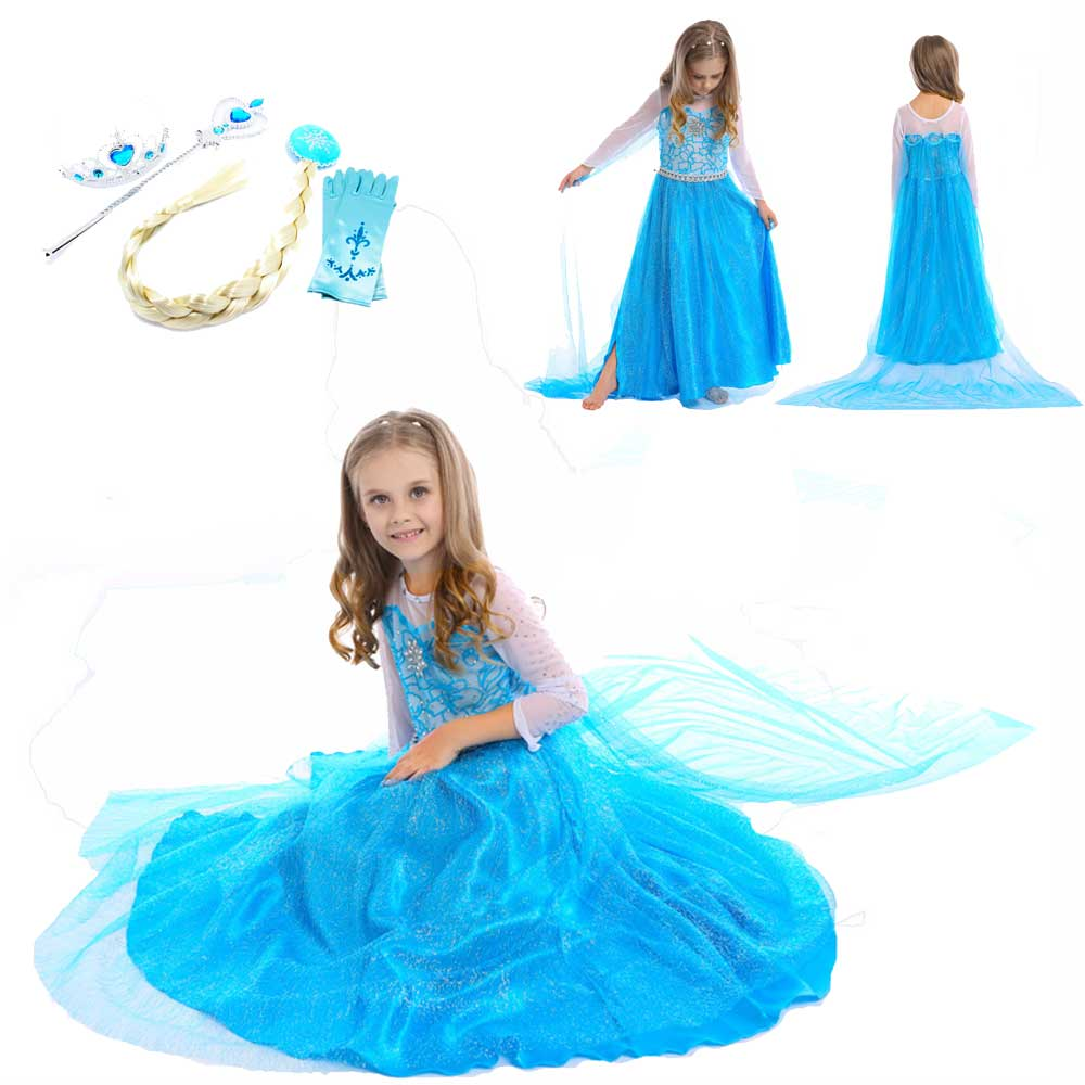 Girls Frozen Elsa Dresses Princess Elsa Dress Costumes For Kids Anna Snow Queen Elza Costumes For Girls Party Vestidos