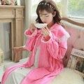 Free Shipping Women Robes Classical European Style Retro Princess Sleep Skirt Cloak Nightgown Velvet Female Home Wear A510