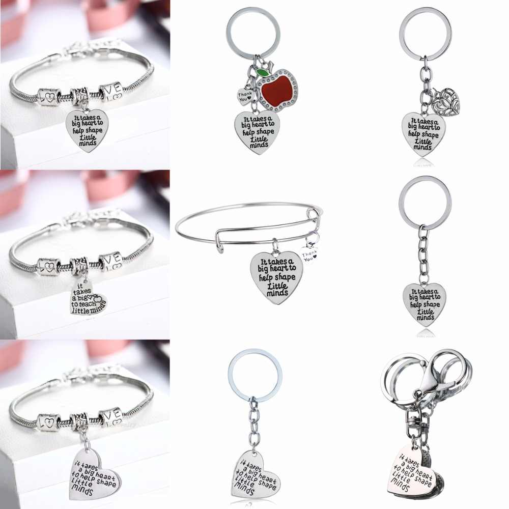 Teachers Gifts Love Beads Bracelets Bangle It Takes A Big Heart To Help Shape Keychains Keyrings School Teachers's Day Jewelry