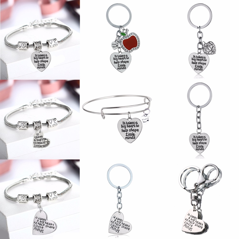 Teachers Gifts Love Beads Bracelets Bangle It Takes A Big Heart To Help Shape Keychains Keyrings School Teacherss Day Jewelry ...