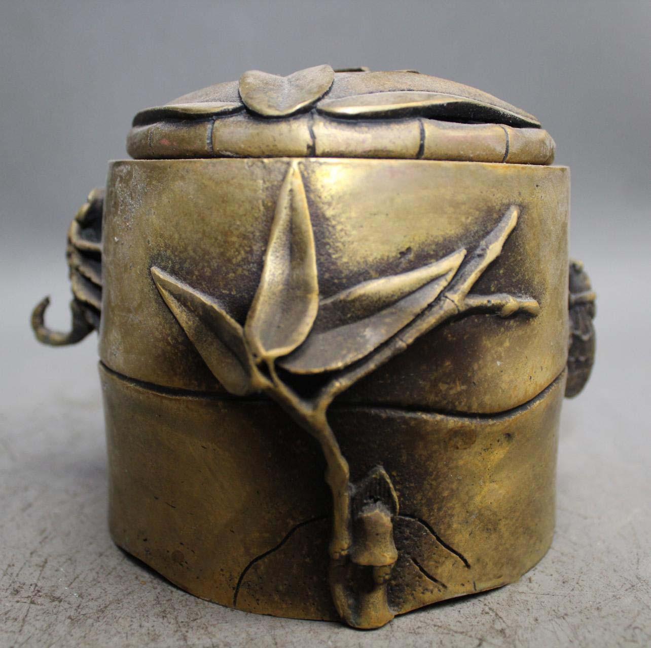 6 China brass fine workmanship folia bambosae bamboo censer incense burner6 China brass fine workmanship folia bambosae bamboo censer incense burner
