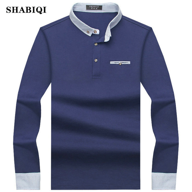 SHABIQI 2018 New Brands Mens Long Sleeve   POLO   Shirts Long Sleeve Camisas   Polo   Stand Collar Male   Polo   Shirt Plus Size M-10XL