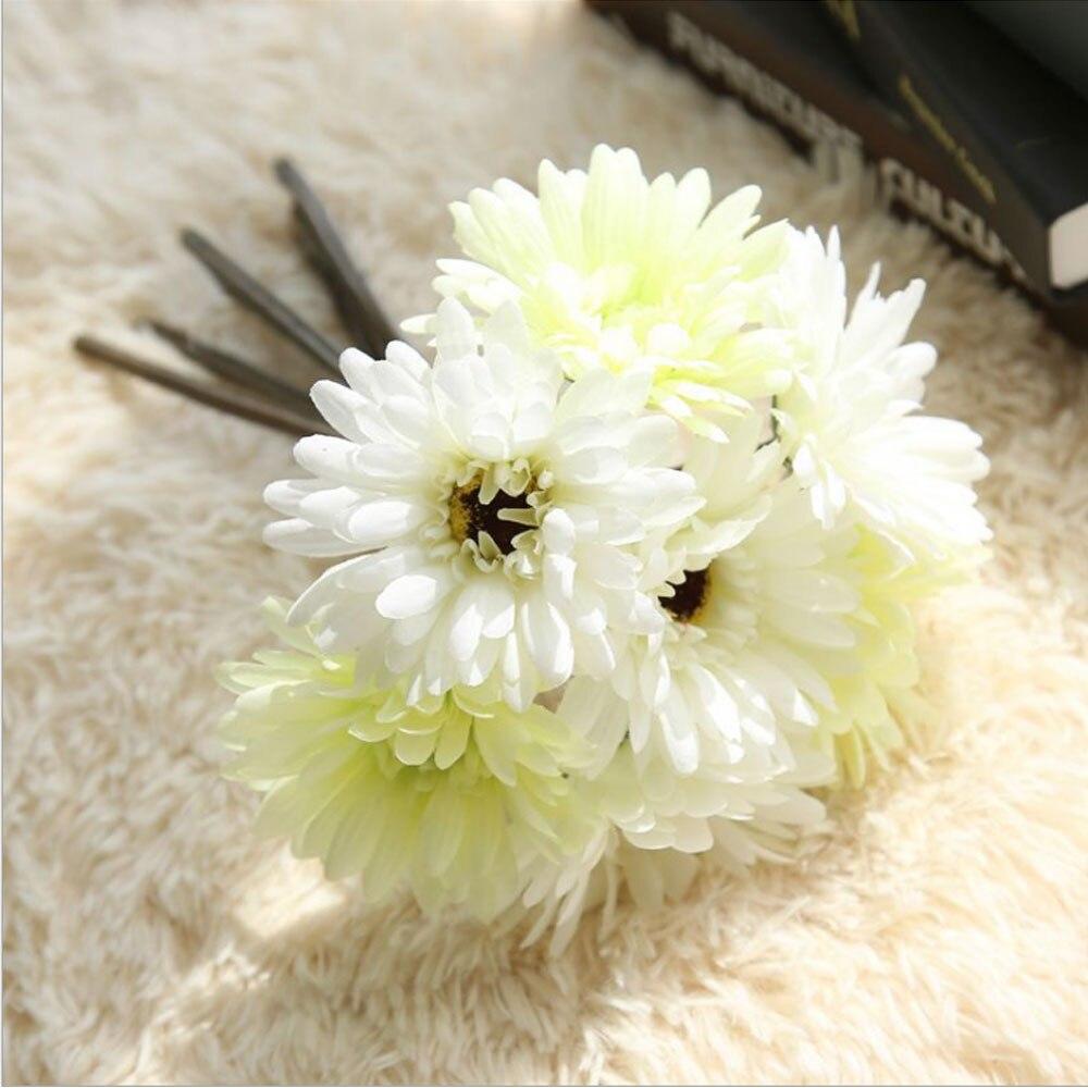 7 Heads Gerbera Flowers African Daisy Bride Bouquet Wedding