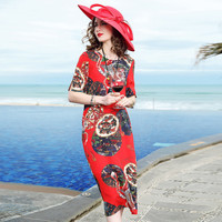 Vestidos Ukraine 2018 Summer Dress Women Dresses Boutique Europe Fashion Plus Size Temperament High end Printed Silk Dress