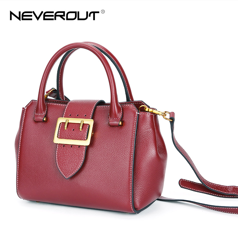 NEVEROUT Women Genuine Leather Female Bags Solid Vintage Style Lady Shoulder Bags Sac Brand Name Handbags Tote Messenger Handbag neverout oil wax style split leather bag for women vintage boston bag shoulder sac 3 color handbags tote zipper tote new handbag