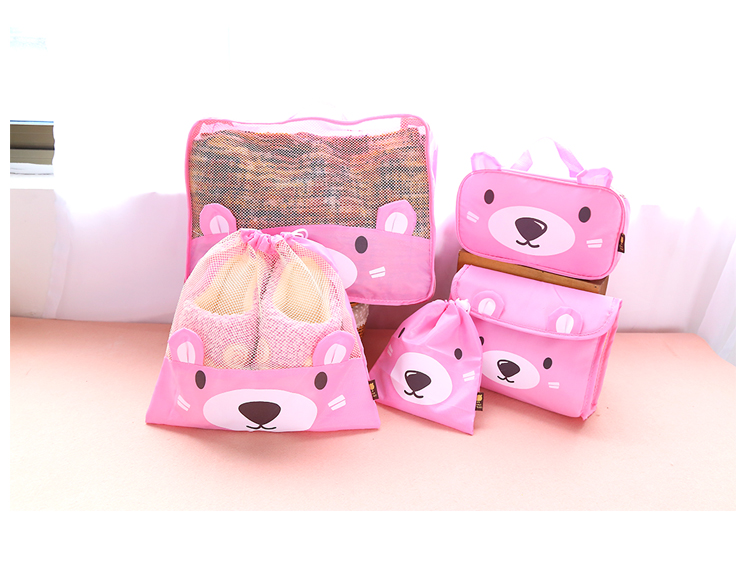 5PCS/ Set Travel Bags Korea Waterproof Nylon Cartoon Bear Packing Cubes Luggage Packing  ...